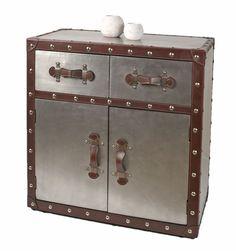 Commode/armoire en style d'industrie aluminium/industrial design - simil-cuir et rivets - argentin