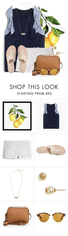"""""""I'm a sucker for seersucker"""" by flroasburn on Polyvore featuring Pottery Barn, J.Crew, Jack Rogers, Kendra Scott, Tory Burch and Ray-Ban"""