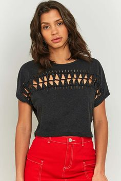 Light Before Dark Short Sleeve Macrame Crop Top