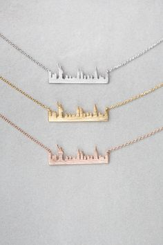 New York City City Skyline Necklace in Silver, Gold, Rose Gold | $18