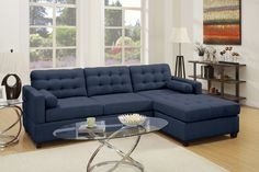 """Poundex F6584 2 pc Manhattan dark blue linen like fabric sectional sofa with reversible chaise. This set is with a linen like fabric upholstery, and has a reversible chaise, you need to assemble it on the side you want it. Sectional measures 102"""" x 66"""" L chaise x 36"""" x 35"""" H. This set is KD , Ready to assemble. Requires assembly."""