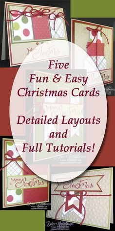 Five Greeting Card Tutorials with measured layout sketches and clear, step-by-step instructions. Spend your valuable time making cards instead of surfing the web. All products are from Stampin' Up! Tutorial booklet available for less than the price of one store-bought greeting card! More information at RobinsCraftroom.com/ChristmasCards.