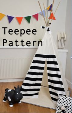 Teepee Pattern Tipi Sewing pattern Wigwam Toy by LoveLimeKids Baby Sewing Projects, Sewing For Kids, Diy For Kids, Sewing Stuffed Animals, Stuffed Toys Patterns, Sewing Toys, Sewing Crafts, Diy Teepee, Tipi Tent