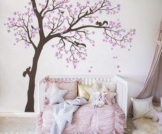 Beautiful, sweet, original kid room tree wall decal - Will look amazing on your wall :)))  #nursery #wall #tree #decal #Olivia #birds #Wallart #squirrels #room #homedecor