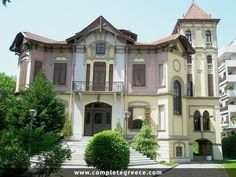 """The""""Ahmet Kapantzi Mansion""""It was built in 1890 by Italian architect Pietro Arrigoni for wealthy Thessaloniki-born Ottoman merchant Ahmet Kapanci. Amazing Architecture, Architecture Design, Thessaloniki, Macedonia, Greece Travel, Victorian Homes, Athens, Places To Travel, Beautiful Places"""