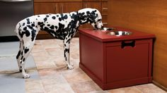 This large-dog dining station keeps food neatly contained and conveniently available, and its height allows the canine's head and neck to be at a good angle for swallowing food and water.