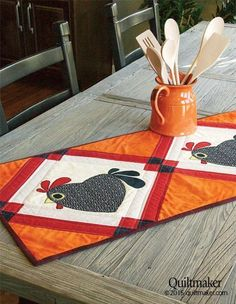 Chicken Hearted table runner pattern at Quiltmaker