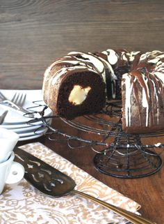 Chocolate bundt with cream cheese filling