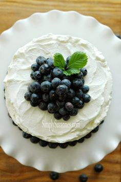 blueberry cake with lemon whipped cream frosting - Simply Suzannes AT HOME