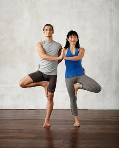 Double Tree  Benefits: Improves balance, strengthens legs, and opens inner thighs   How to Do it: Stand side by side facing the same direction, and wrap your inside arm around your partner's waist. Standing firmly on your inside leg, rotate your outside leg, bringing the sole of your foot to your ankle, calf, or thigh (not your knee). Lift your outside arm above you, or press your palms together to unite the pose. Hold the pose for 5 to 10 breaths on each side.