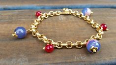 Gold chain bracelet with Pink and Purple Agate by poppyhollow #handmade #tbec #florida #jewelry #accessories #gifts