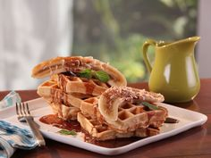 Coconut Waffles with Chocolate Maple Syrup and Banana recipe from Bobby Flay via Food Network