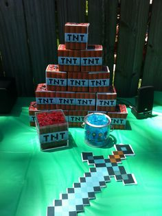 Minecraft TNT cardboard boxes, Licorice Sticks, Foam Swords