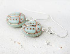 Mint ladybugs earrings  glass ladybirds on by MayaHoneyJewelry, $14.00