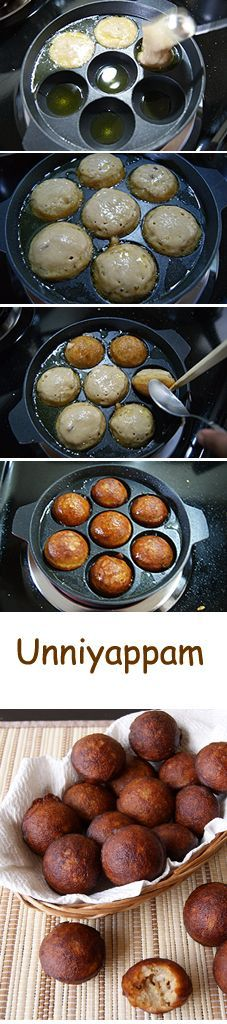 Unniyappam - A small fried Indian fritter made from rice flour and flavored with jaggery, banana, roasted coconut pieces, roasted sesame seeds and cardamom powder. Crispy on the outside and a soft inside with a yummy banana flavor. Indian Desserts, Indian Snacks, Indian Dishes, Indian Sweets, Easy Indian Sweet Recipes, Indian Food Recipes, Naan, Muffins, Fruit Recipes