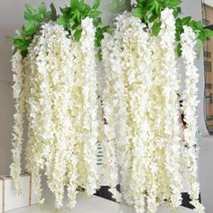 Upscale artificial silk flower vine home decor simulation wisteria 16 meter long white artificial silk flower vine wisteria garland fake plants for garden home decor wedding party decorations junglespirit Images