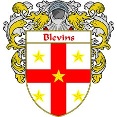 Blevins Coat of Arms   namegameshop.com has a wide variety of products with your surname with your coat of arms/family crest, flags and national symbols from England, Ireland, Scotland and Wale