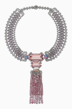Cartier Yoshino Necklace From The Coloratura Collection This incredible necklace features 2 emerald-cut morganites totalling CTW, 3 cabachon opals, pink tourmaline beads, pink sapphires. High Jewelry, Silver Jewelry, Jewelry Accessories, Jewelry Necklaces, Jewelry Design, Geek Jewelry, Silver Pendants, Designer Jewelry, Charm Bracelets