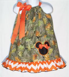 Minnie Mouse ~ Camo & Chevron Pillowcase Dress / Fall / Winter / Thanksgiving / Infant / Baby / Toddler / Girl / Custom Boutique Clothing on Etsy, $30.00