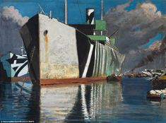 John Everett dazzle painting images: Ships in camoflage during WWI. British Marine, Dazzle Camouflage, Norman, German Submarines, Maritime Museum, World War One, Ship Art, Reality Of Life, Military Art