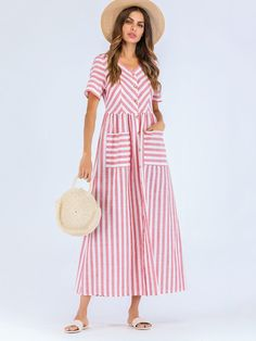 Shop Button Through Striped Smock Dress online. SHEIN offers Button Through Striped Smock Dress & more to fit your fashionable needs. Mini Robes, Striped Fabrics, Smock Dress, Latest Dress, Pink Fashion, Fashion Black, Dress Fashion, Vintage Fashion, Carolina Herrera