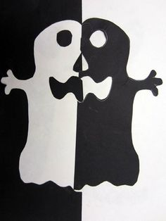 Simple halloween project, teach positive/negative space.  Draw 1/2 of a ghost on black paper, cut out, place on white paper.