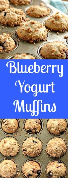 blueberry yogurt muffins with streusel topping via www.chocolateslopes.com
