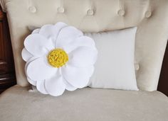 Decorative Pillow - White Daisy Flower on Light Gray Lumbar Pillow -Baby Nursery Decor-
