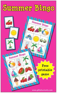 Free Summer Bingo Game. Great fun for small groups and can be used to develop early vocabulary knowledge related to summertime objects. #summer #Bingo #freeprintables #GiftOfCuriosity || Gift of Curiosity Creative Activities For Kids, Indoor Activities For Kids, Preschool Activities, Games For Kids, Science Experiments For Preschoolers, Science For Kids, French Lessons, Spanish Lessons, Teaching Spanish