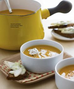 Squash & Apple Soup w/ Pear-Blue Cheese Toasts