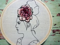 MADE TO ORDER - Please allow two weeks for production. Lou has a beautiful flower in her hair that is completely hand stitched by me. Her