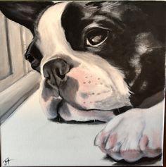 Painting by Joanne Hamel I Love Dogs, Cute Dogs, American Bully, Boston Terrier Art, Boxer Bulldog, Pet Turtle, Cow Art, Dog Wear, Pet Portraits