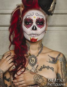 love day of the dead and the makeup, so doing something like this for Halloween…
