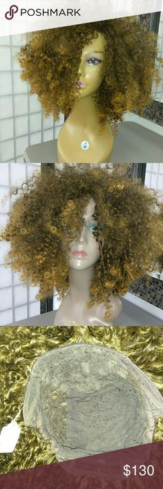 #108~ Kinky Curly #AfroWig Messy on purpose. This magnificent diva is amazingly light weight for all that hair! On an adjustable wigcap. Grab & Go~ Accessories Hair Accessories