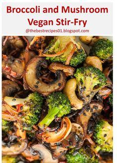Here's Broccoli and Mushroom Stir-Fry Recipe >> Chinese Broccoli Recipe, Broccoli Recipes, Chinese Recipes, Asian Recipes, Vegan Stir Fry, Healthy Stir Fry, Best Vegan Recipes, Healthy Recipes, Vegan Vegetarian