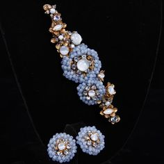 "<b>Miriam Haskell 2pc. Blue Moonstone Brooch/Pin & Clip earrings</b> H 1 3/4"" x W 5 1/8"""