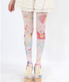 27fde775bf7d5 Tattoo Tights, Lolita, Japanese Street Fashion, Quirky Fashion, Kawaii  Fashion, Cute