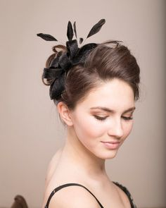 Sinamay feathers fascinator black fascinator by BeChicAccessories