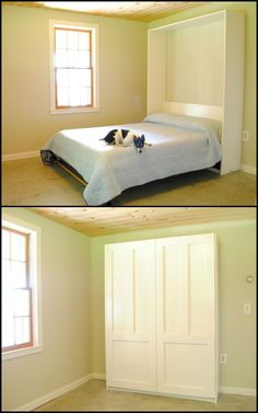 Do you have a spare/guest room that doubles as your home office or the kids playroom? A murphy bed would be a great idea for freeing up floor space!    You can learn how to build your own Murphy bed b
