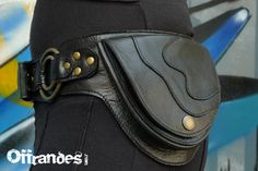 Leather Utility Hip Belt _2RING.Bk_ High Quality by offrandes, $120.00