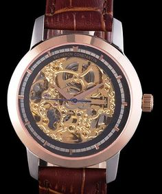 Vacheron Constantin Black Skeleton Watch with Rose Gold Bezel