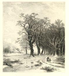 Remigius Adrianus van Haanen - Winters boslandschap met moeder en kind (1857)