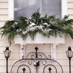 Christmas Window Dressing  Fill window boxes with cedar and boxwood boughs, green hypericum berries, and sprigs of baby's breath stuck into a dry block of florist's foam. Protected from direct sun and weather extremes, cut greens can survive throughout the season.