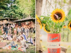 New York Camp Wedding: Andrea + Chuck - YES! Picnic blankets for people to lounge on!