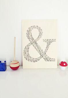 """Nagelbild """"&"""" auf Holzplatte // woodpanel with nails and yarn shaped like an & by Ahoj-2012 via DaWanda.com"""