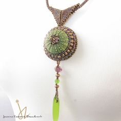 Sea Urchin NecklaceWith Seaglass Drop Bead Embroidery and