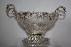 LARGE SILVER VICTORIAN PIERCED BOWL AND GLASS LINER 1846 LONDON THE FOX BROTHERS
