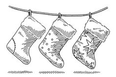 Hanging Christmas Socks Drawing