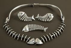 Vintage Antonio Pineda Silver Skeletal Fish Necklace, Earrings & Brooch. Photograph: Heritage Auction Galleries
