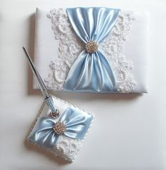 Wedding Guest Book and Pen Set with Beaded Alencon Lace, Custom Color Satin Sash Cinched by Crystals - The MIRANDA Set